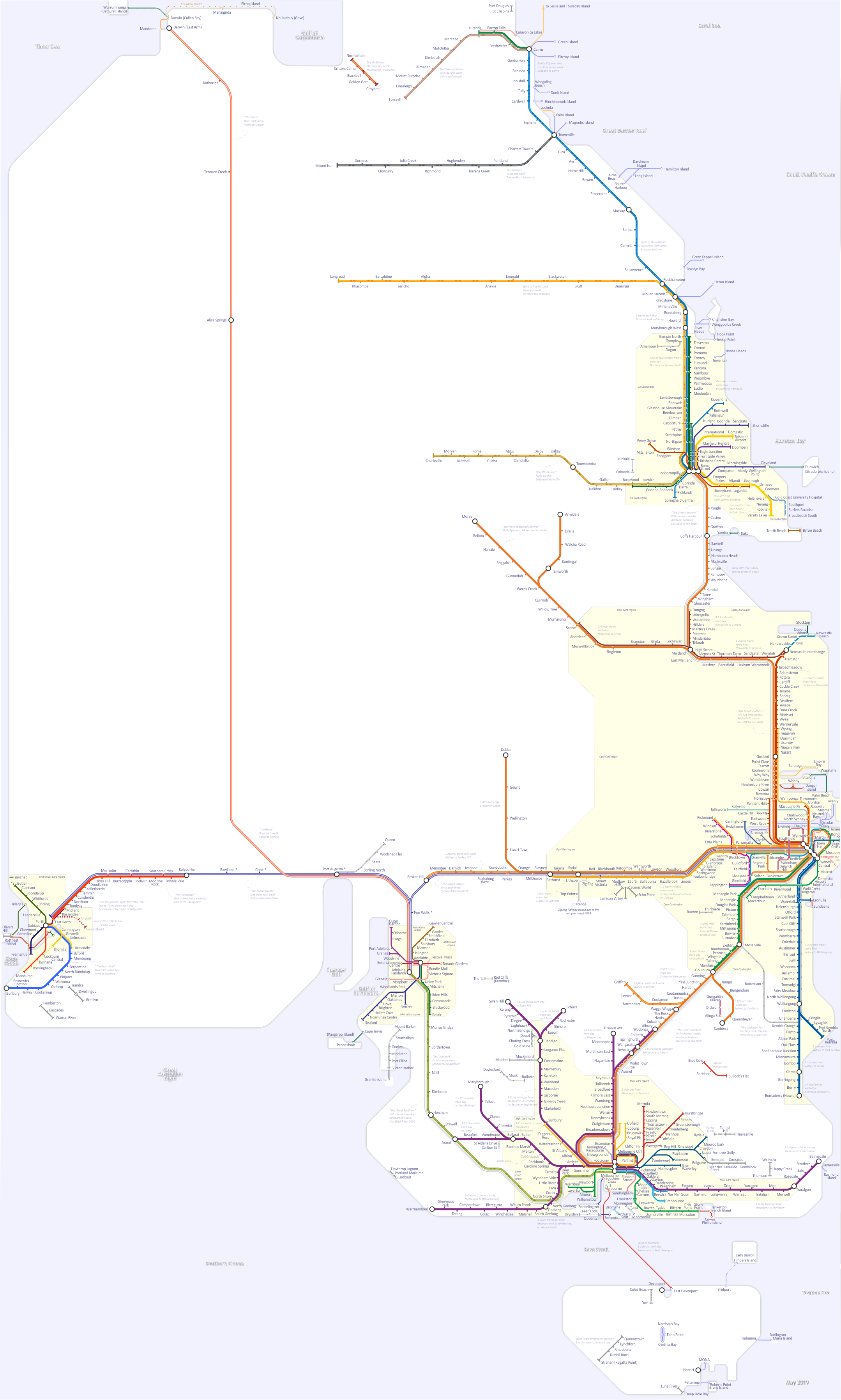 Australia Map Melbourne.Victoria South Australia And Southern Nsw Rail Map