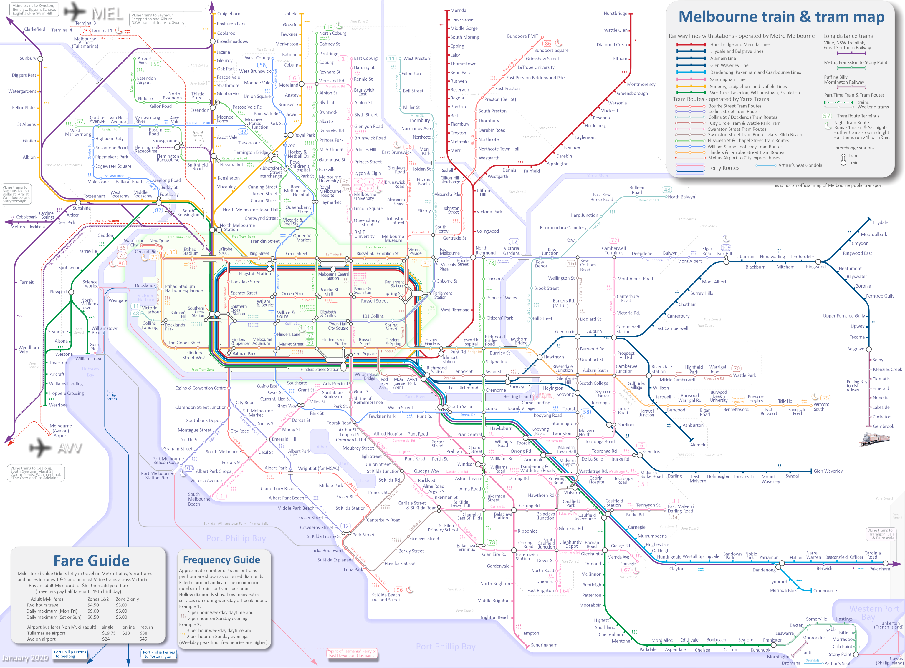 Number 7 Subway Map.Melbourne Train Map